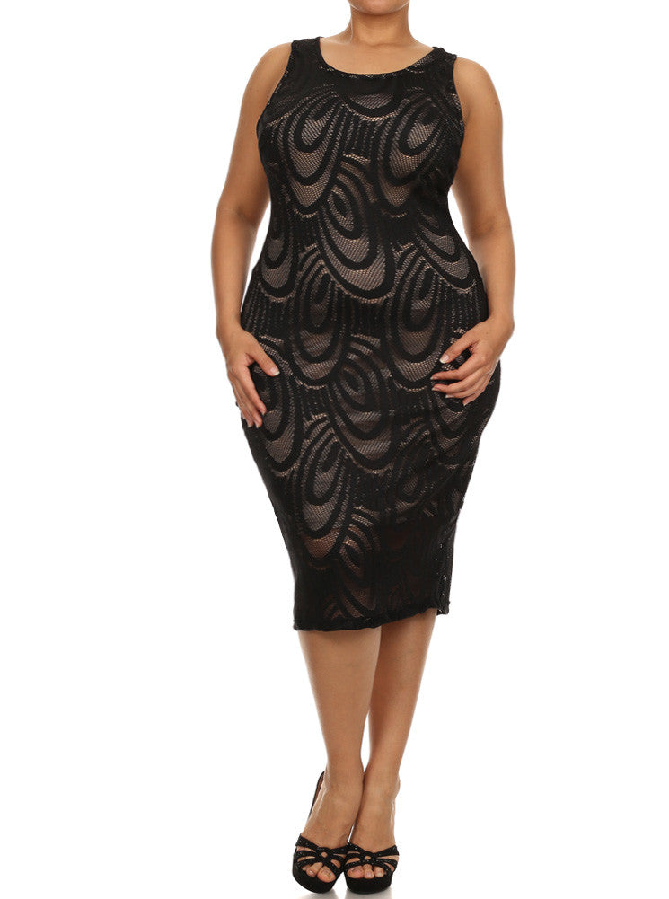 Plus Size Ocean Breeze Knit Overlay Midi Black Dress