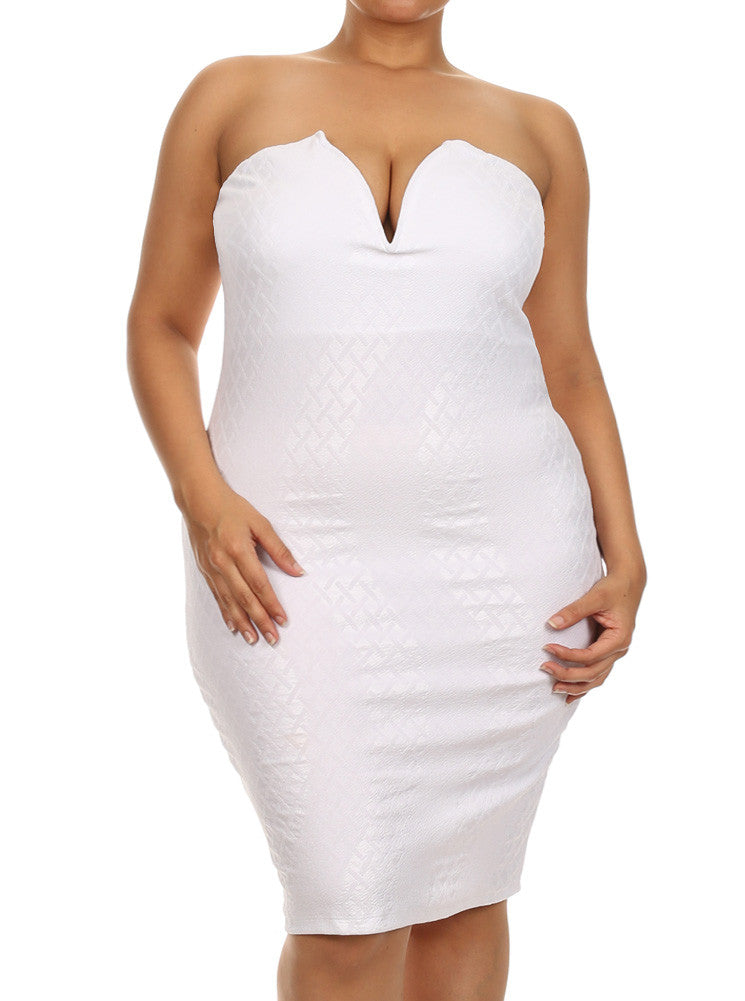 Plus Size Alluring Textured Pattern White Dress