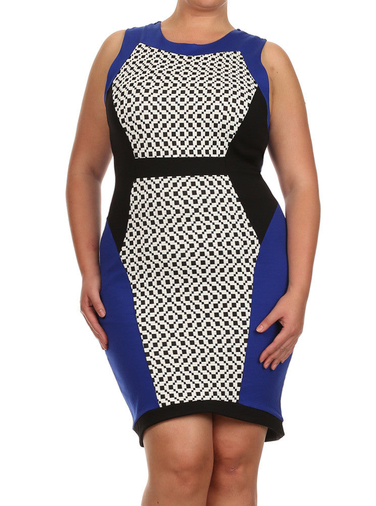 Plus Size Checkered Pastel Colorblock Navy Blue Dress