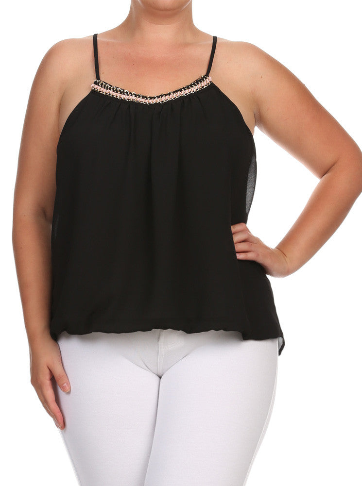 Plus Size Gold Chain Neckline Sheer Black Top