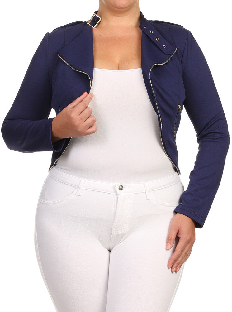 Plus Size City Girl Knit Textured Moto Blue Jacket