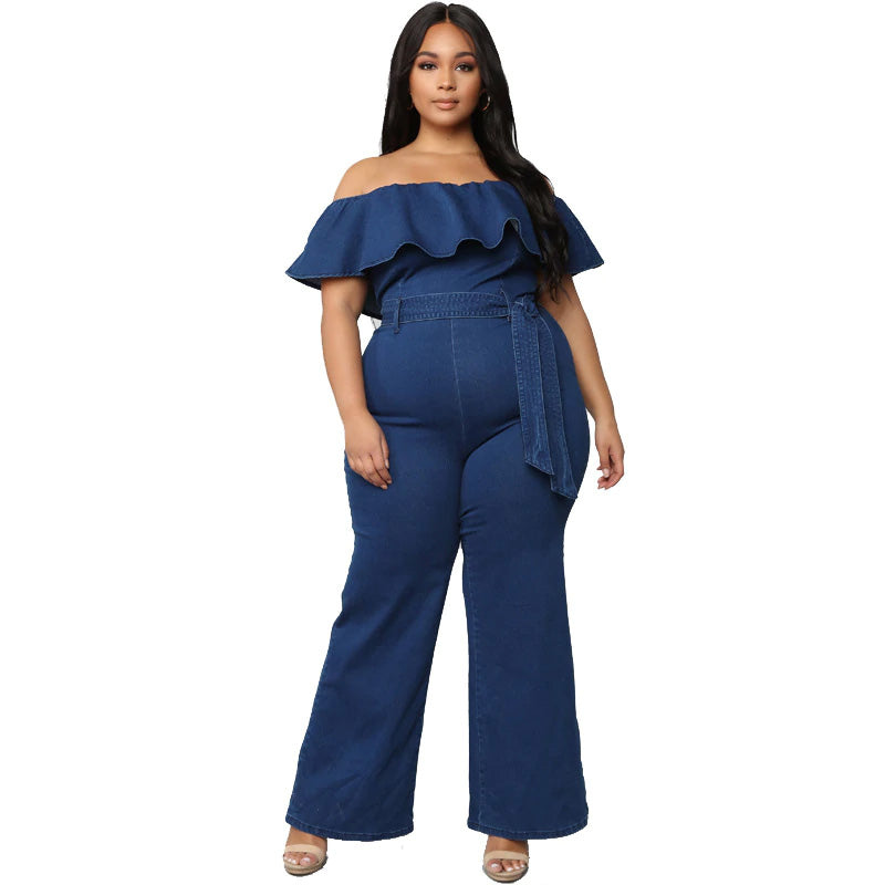 Plus Size Off Shoulder Ruffle Neckline Jumpsuit