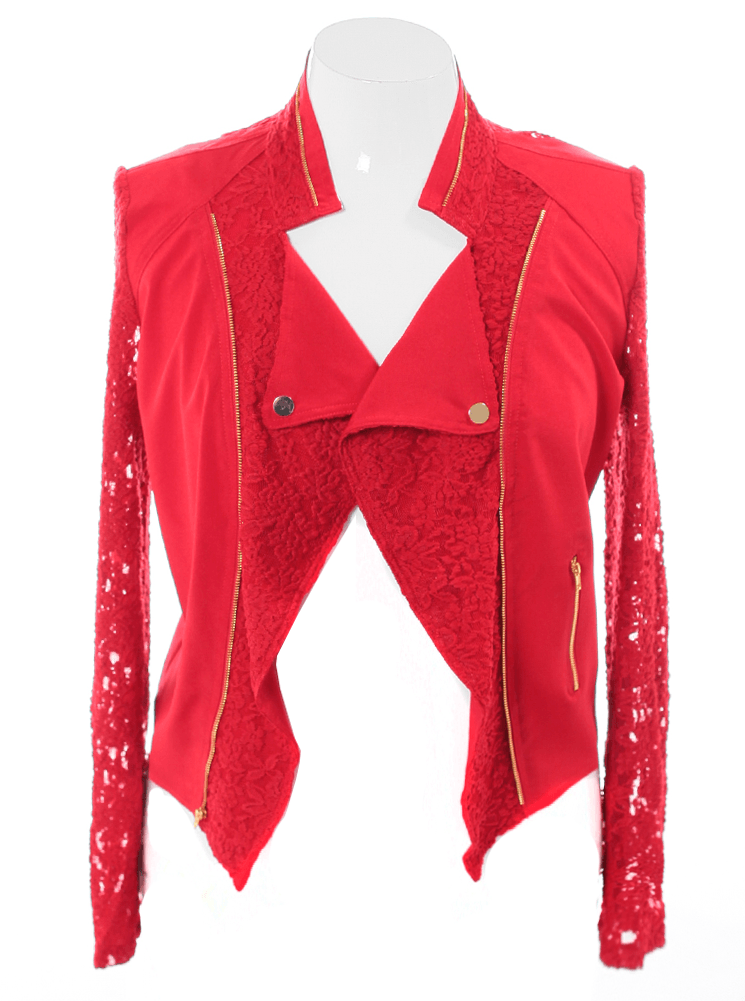 Plus Size Lace Sleeves Red Biker Jacket