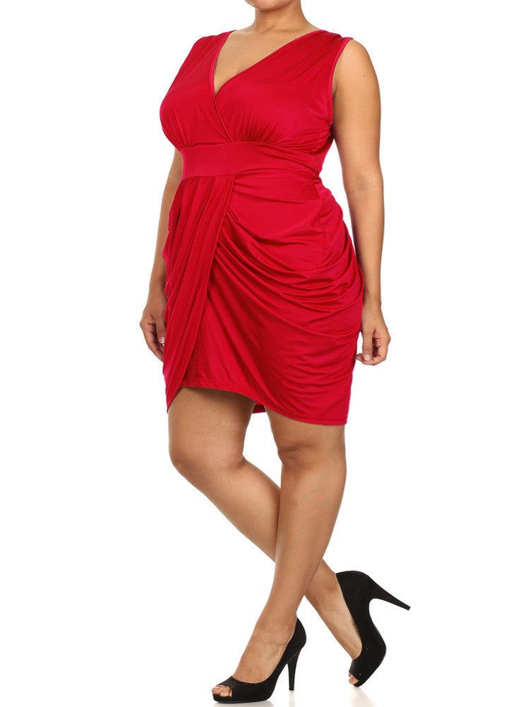 Plus Size V Neck Bubble Red Dress