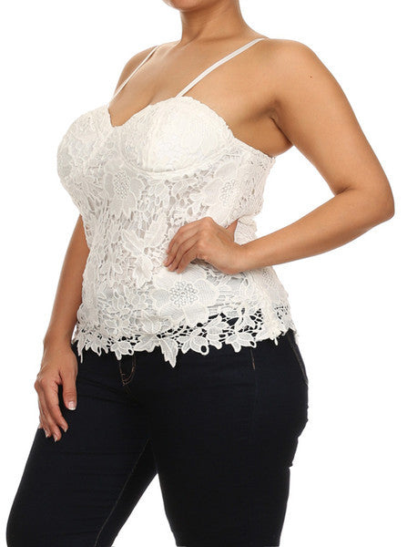 Plus Size Sun Kissed Floral Crochet Top