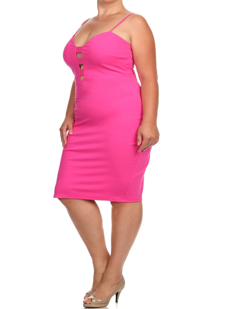 Plus Size Sweetheart Cut Out Pink Dress