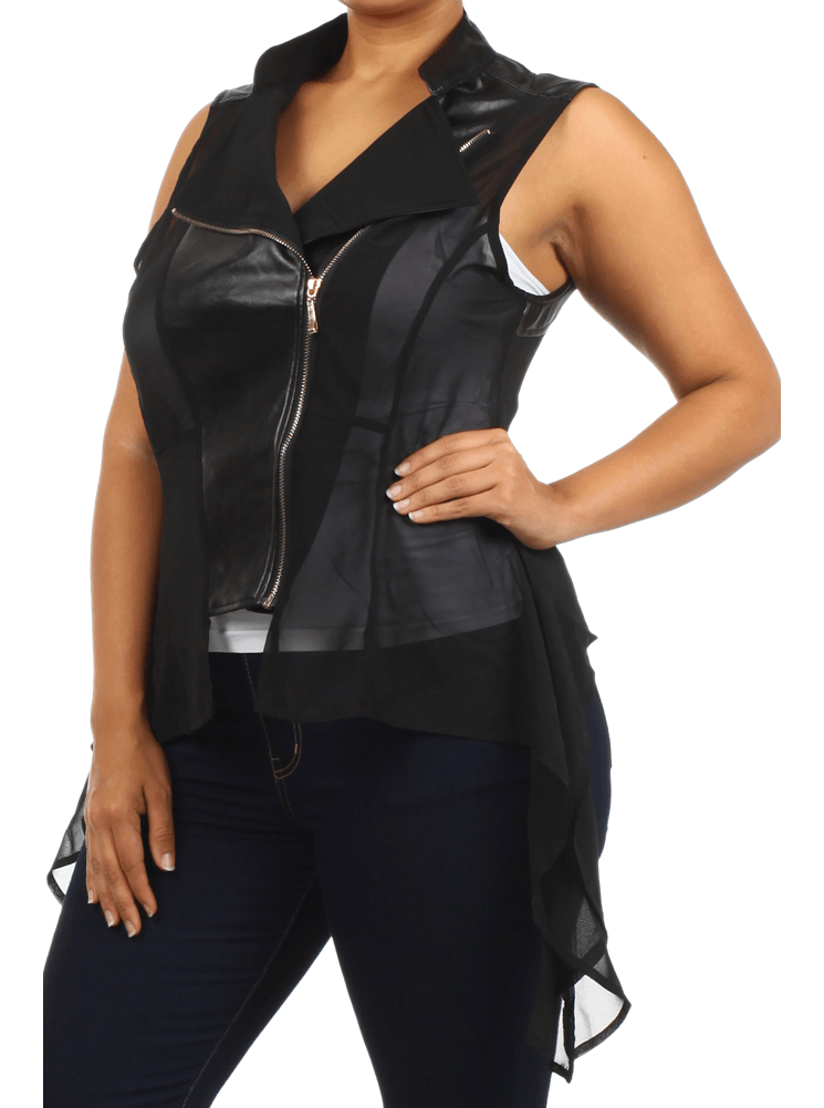 Plus Size Sexy Leather Sheer Black Vest