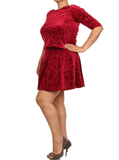 Plus Size Velvet Floral Print Red Skirt Set