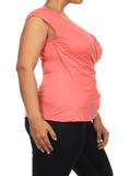 Plus Size Chic Drapey Cross Over Coral Top
