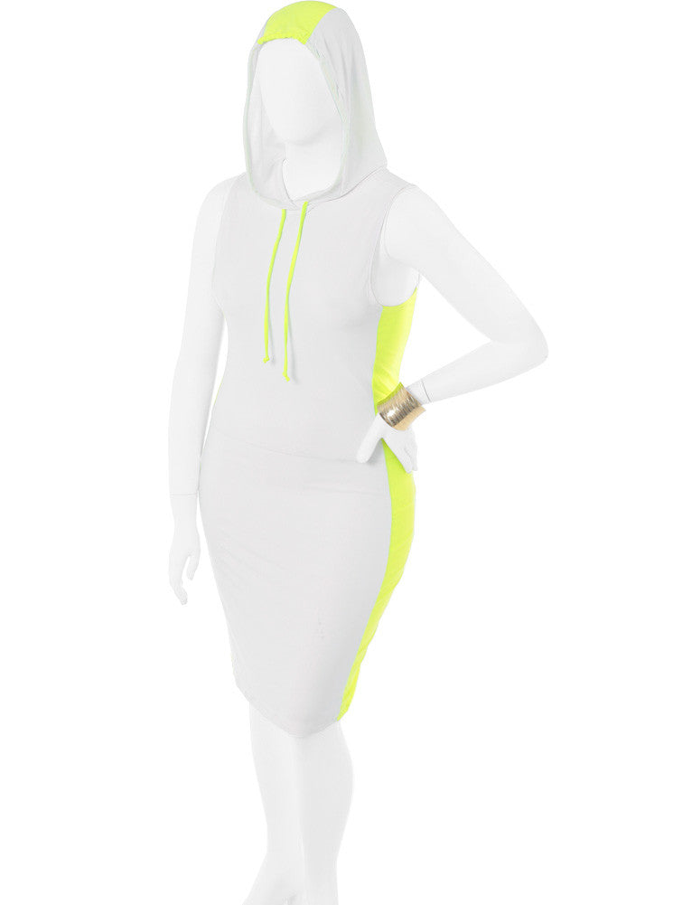 Plus Size Sporty Zoom Hoodie Highlighter Dress