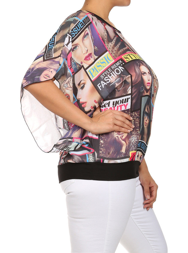 Plus Size Miss Fashionista Butterfly Sleeve Top