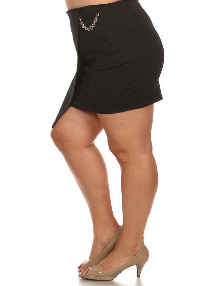 Plus Size Sexy Side Gold Chain Black Mini Skirt