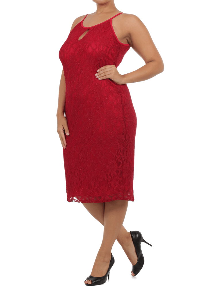 Plus Size Mesmerizing Floral Lace Midi Red Dress