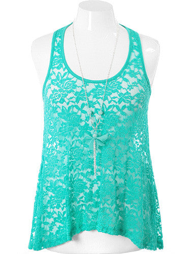 Plus Size See Through Necklace Teal Tank