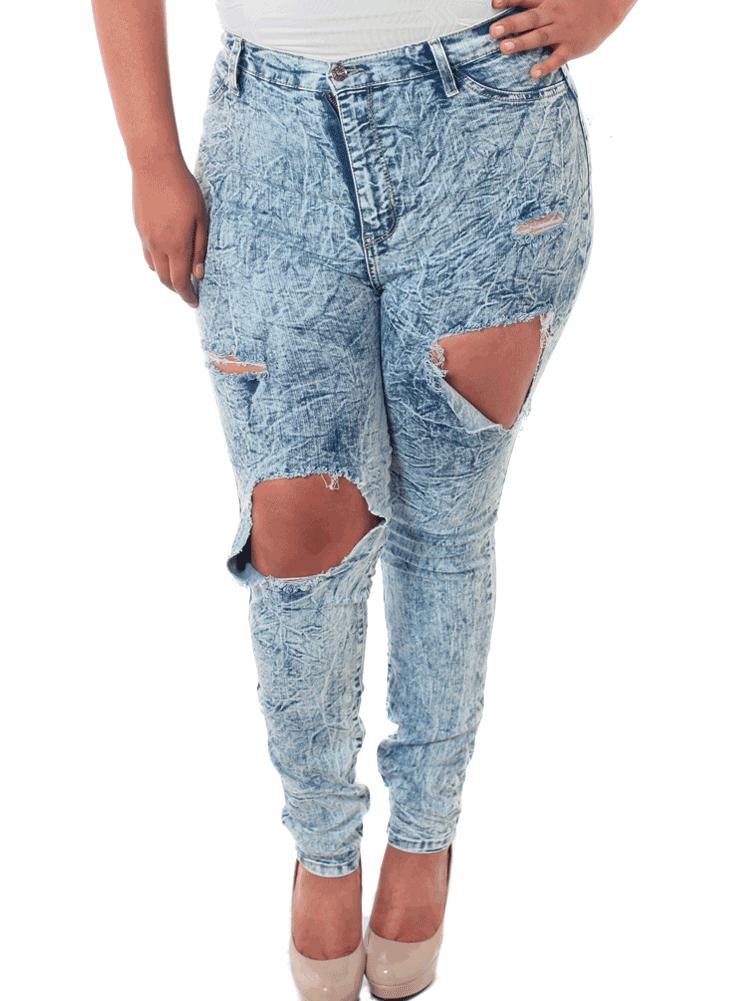 Plus Size Ripped Acid Wash Denim Jeans