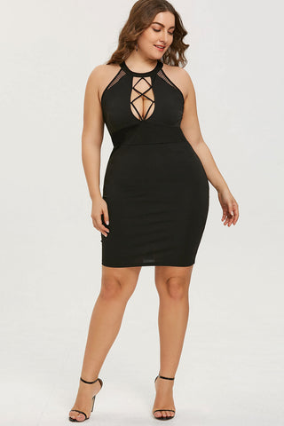 Plus Size Glam Criss Cross Open Front Cocktail Dress