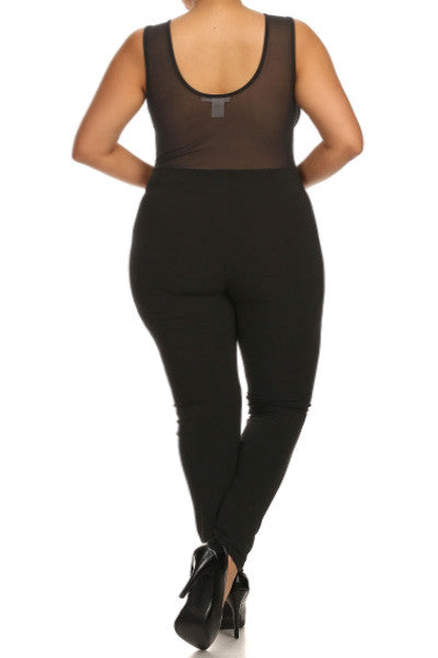 Plus Size See Through Mesh Catsuit Bodice