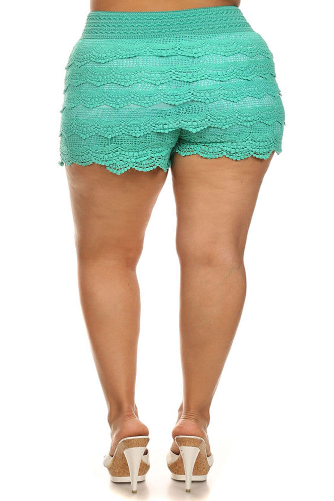 Plus Size Layered Lace Banded Mini Mint Shorts