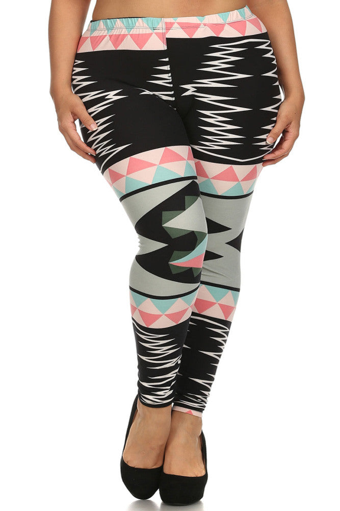 Plus Size Stretchy Aztec Print Black Leggings