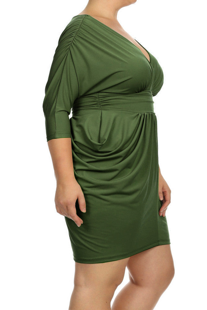 Plus Size Divine V Neck Pleated Olive Dress