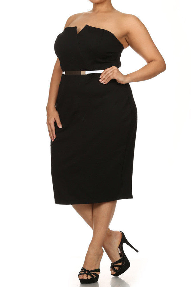 Plus Size Own The Night Cross Over Black Dress