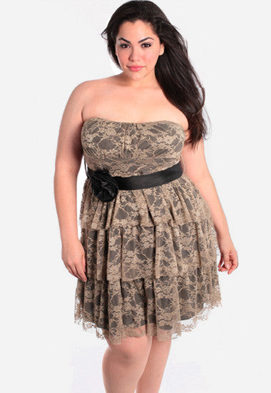 Plus Size Gorgeous Vintage Layered Lace Tube Dress