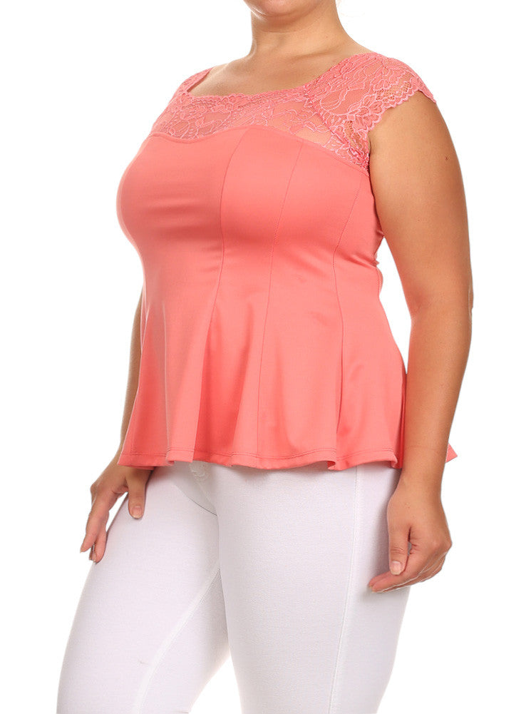 Plus Size Floral Lace Off Shoulder Coral Top