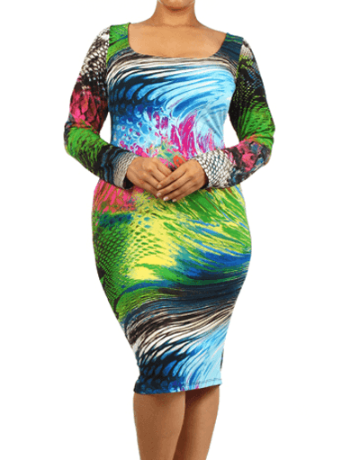 Plus Size Vibrant Snake Print Midi Dress