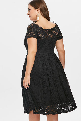 Plus Size Elegant Detailed Lace Panel Flare Dress