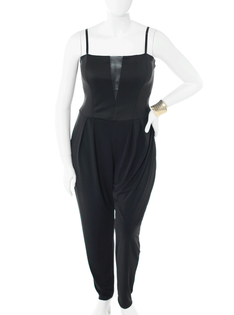 Plus Size Pose A Threat Black Mesh Jumpsuit