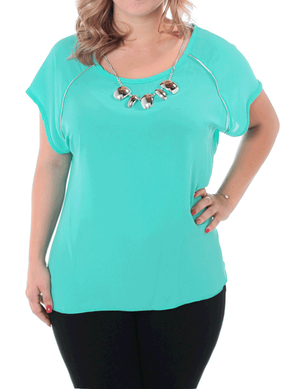 Plus Size Sheer Silver Glam Mint Blouse
