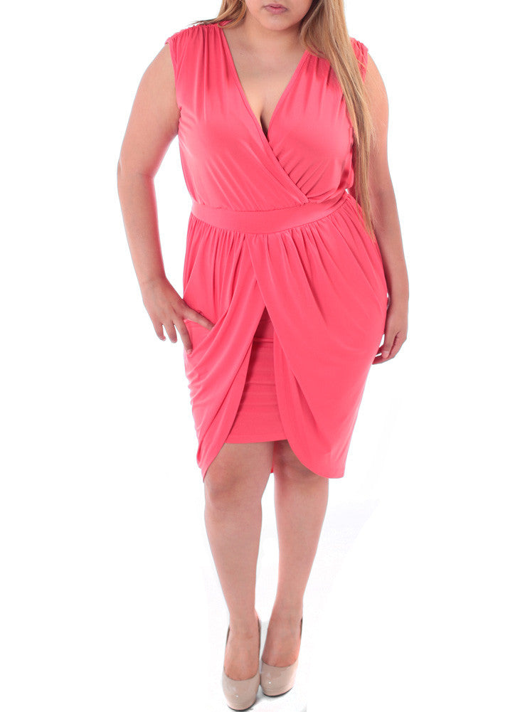 Plus Size Enticing Bubble Skirt Pink Dress