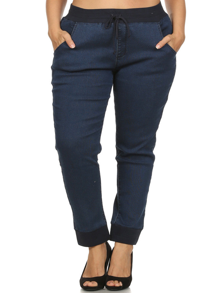 Plus Size On The Run Navy Blue Joggers