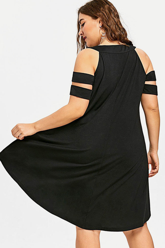 Plus Size Sexy Off the Shoulder High Low Hem Dress