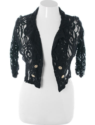 Plus Size Flirtatious Lace Black  Half Jacket
