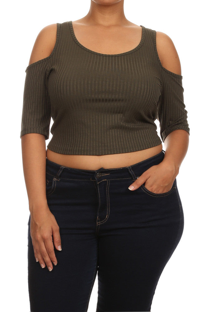 Plus Size Flirty Bare Shoulders Olive Crop Top