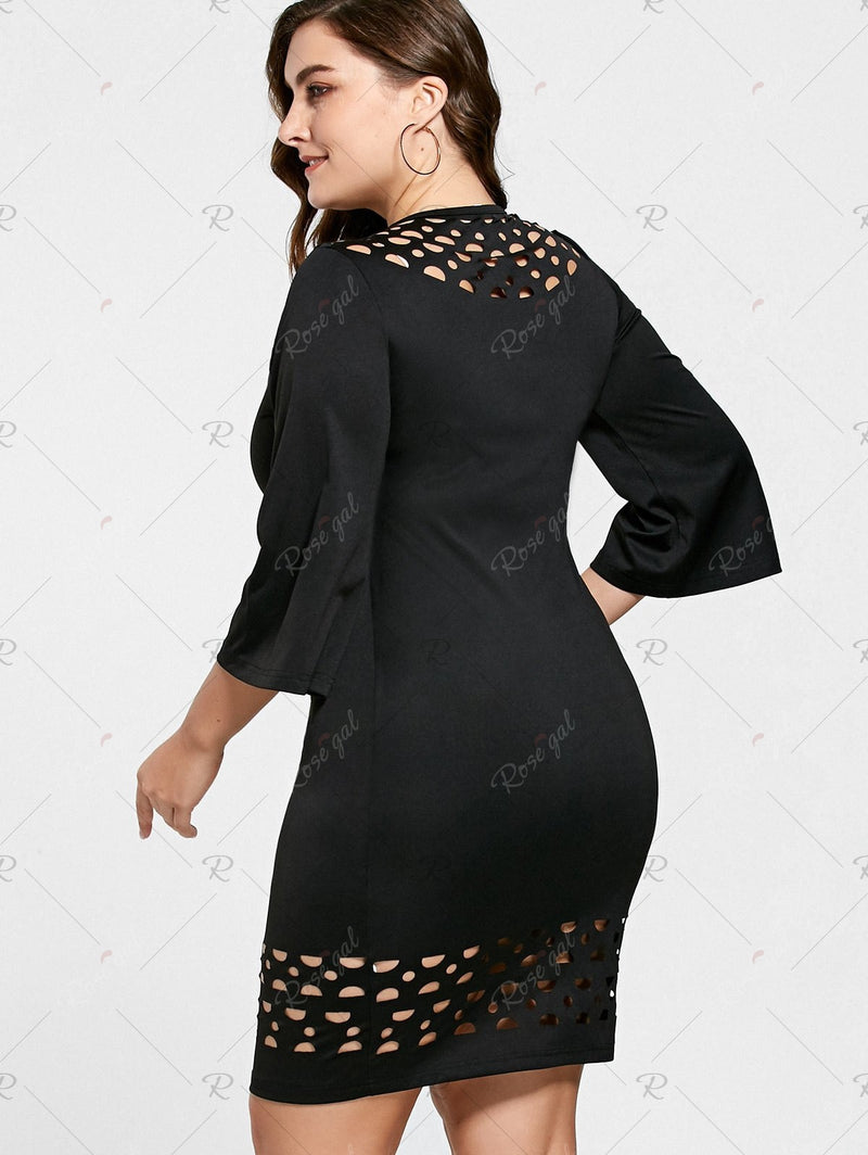 Plus Size Openwork Insert Tight Dress