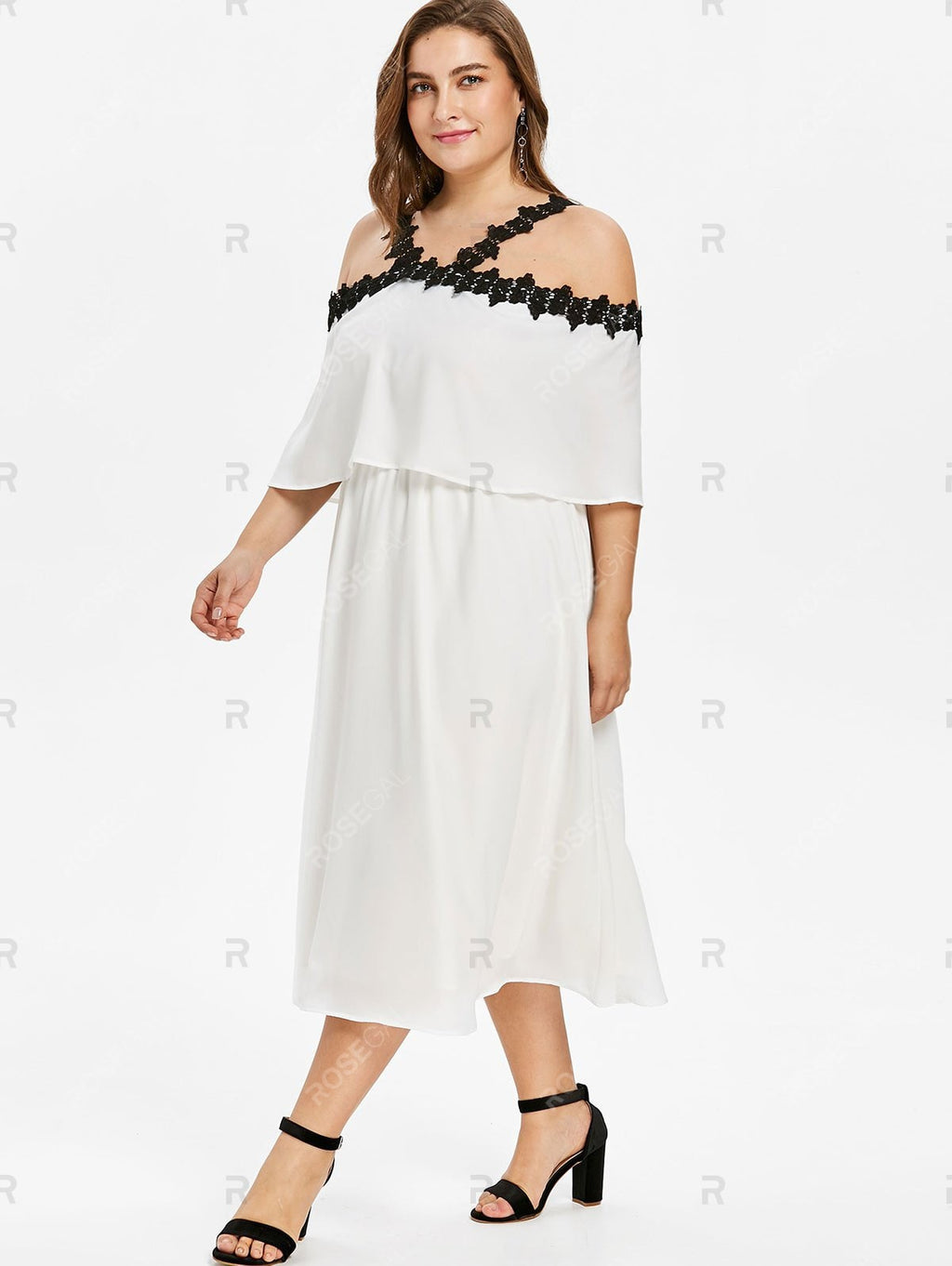 Plus Size Off Shoulder Overlay Dress