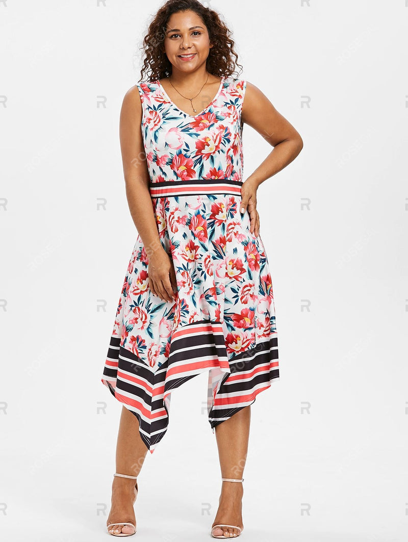 Plus Size Printed Asymmetrical Swing Dress