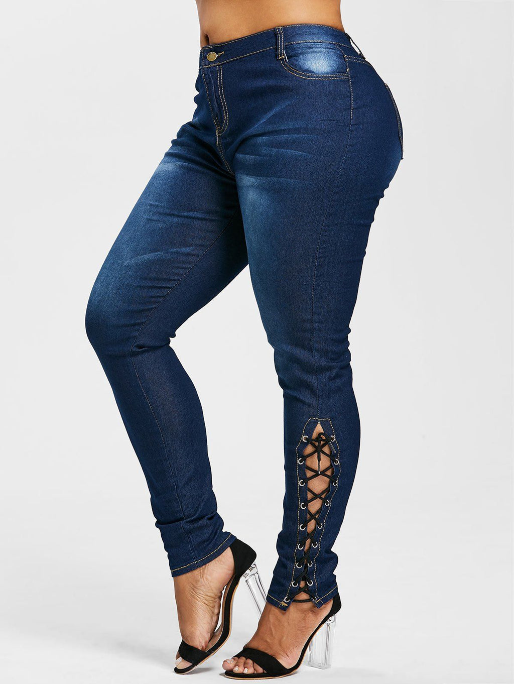 Plus Size Side Lace Up Zipper Fly Jeans