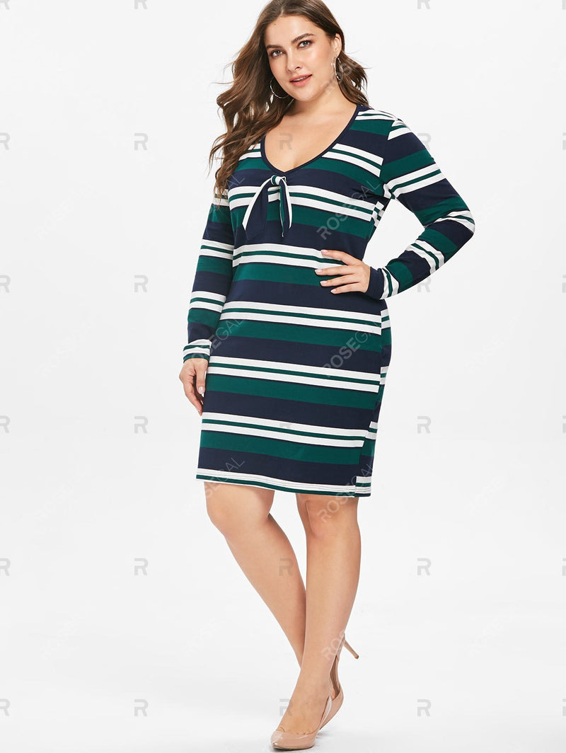 Plus Size Striped Long Sleeve Dress