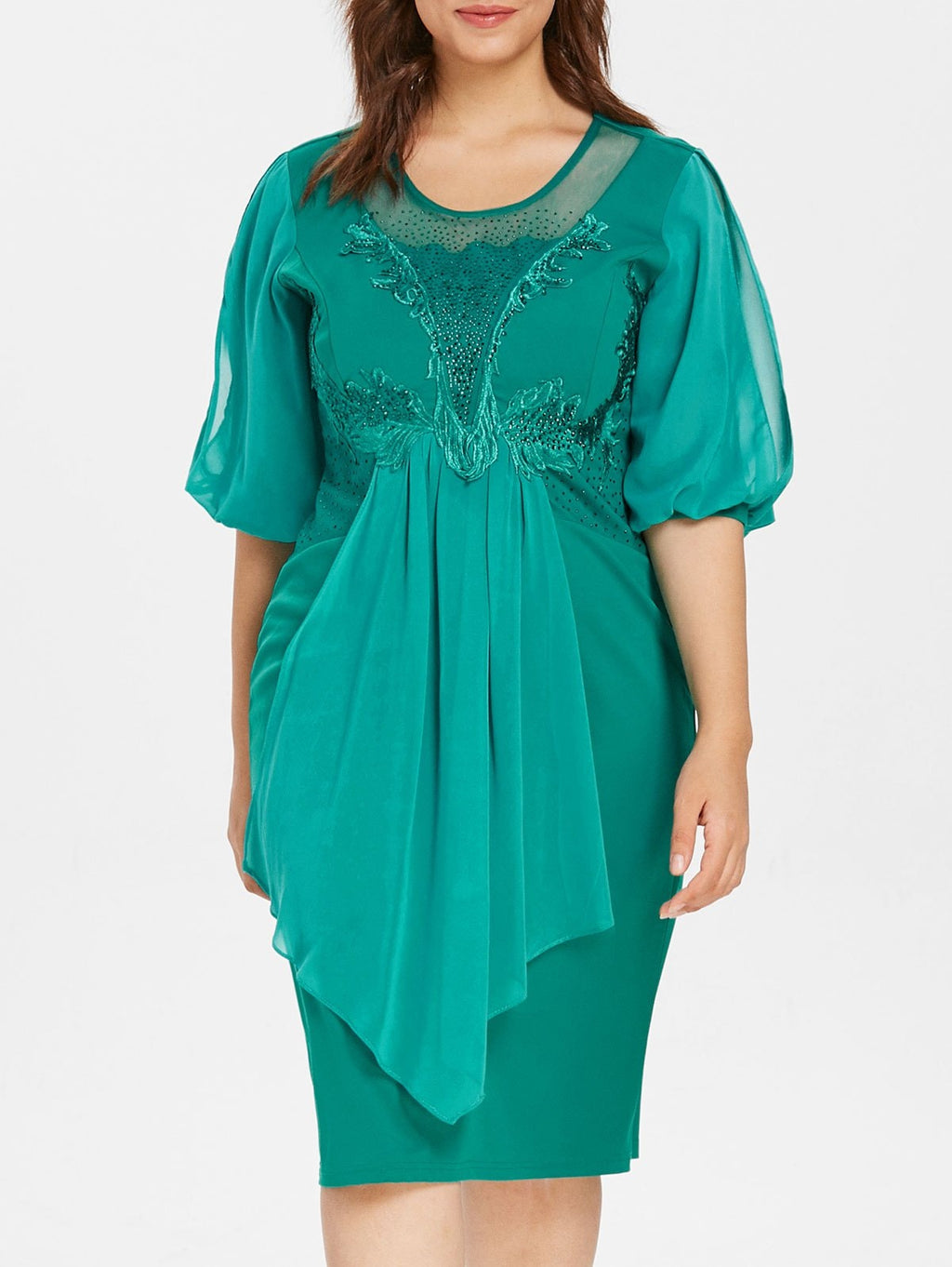 Rhinestone Embellished Plus Size Embroidery Dress