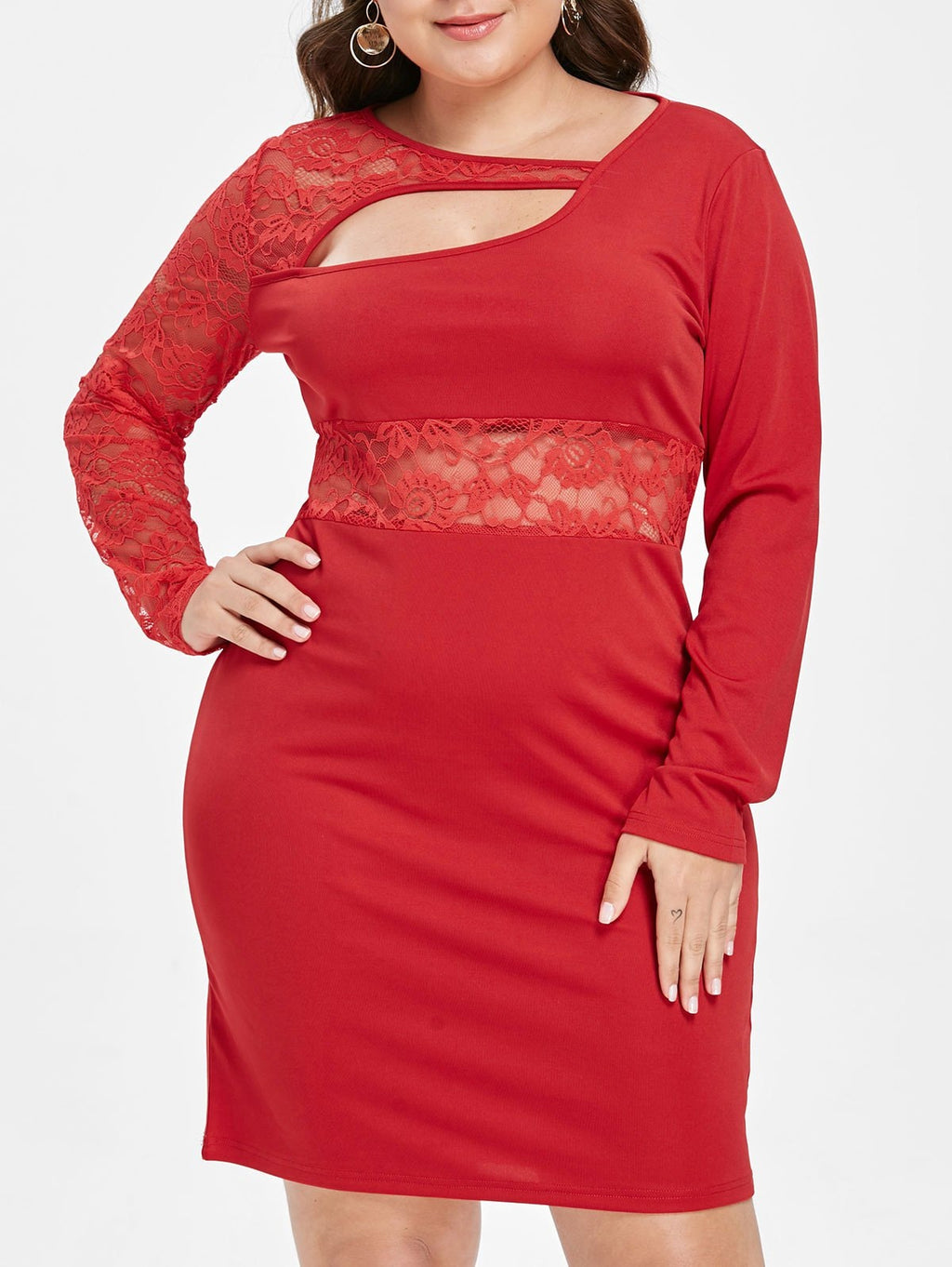 Plus Size Lace Insert Cutout Dress