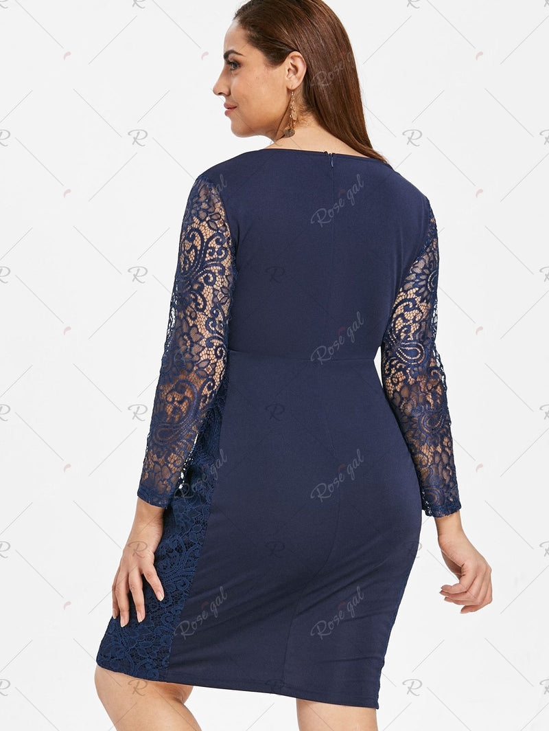 Lace Panels Ruched Plus Size Surplice Dress