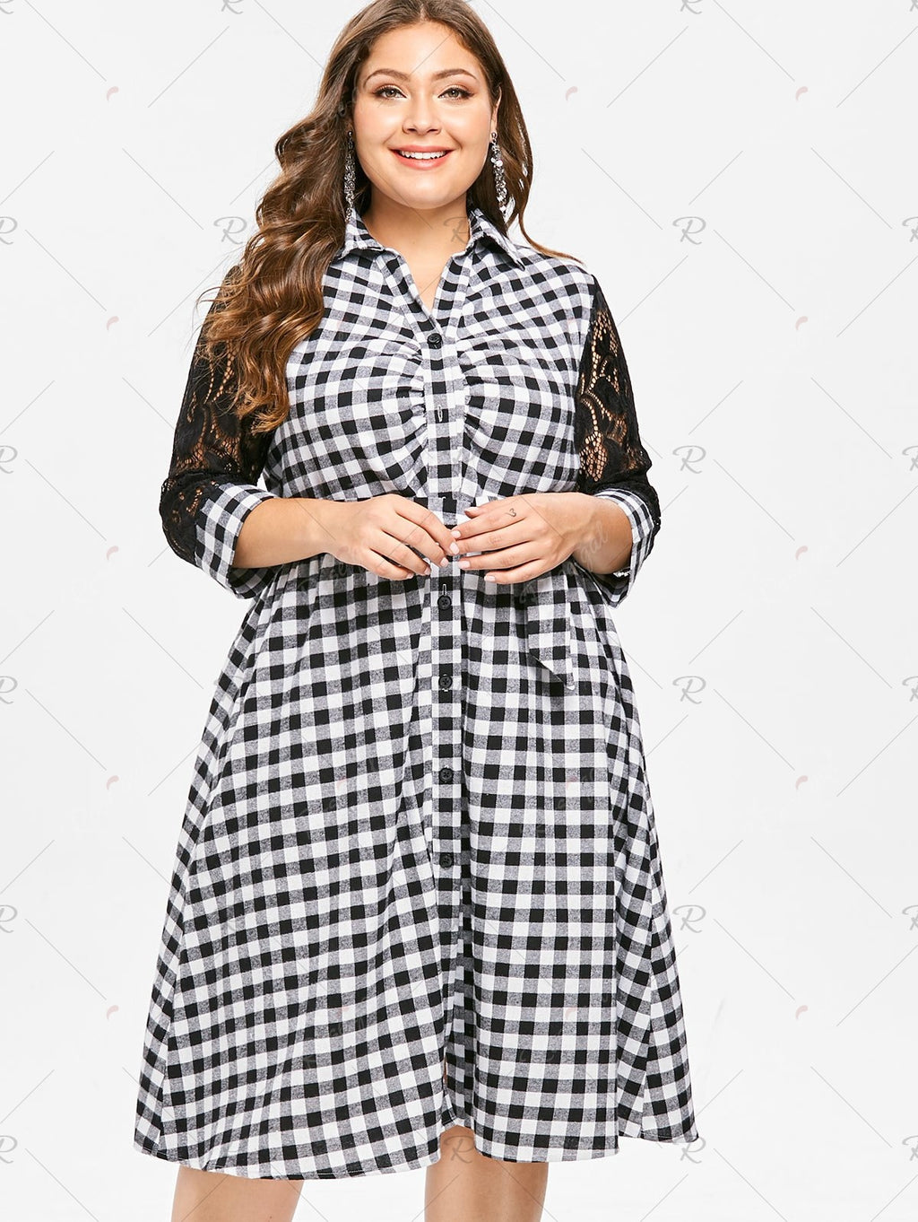 Plus Size Plaid Shirt Dress with Lace Insert Top