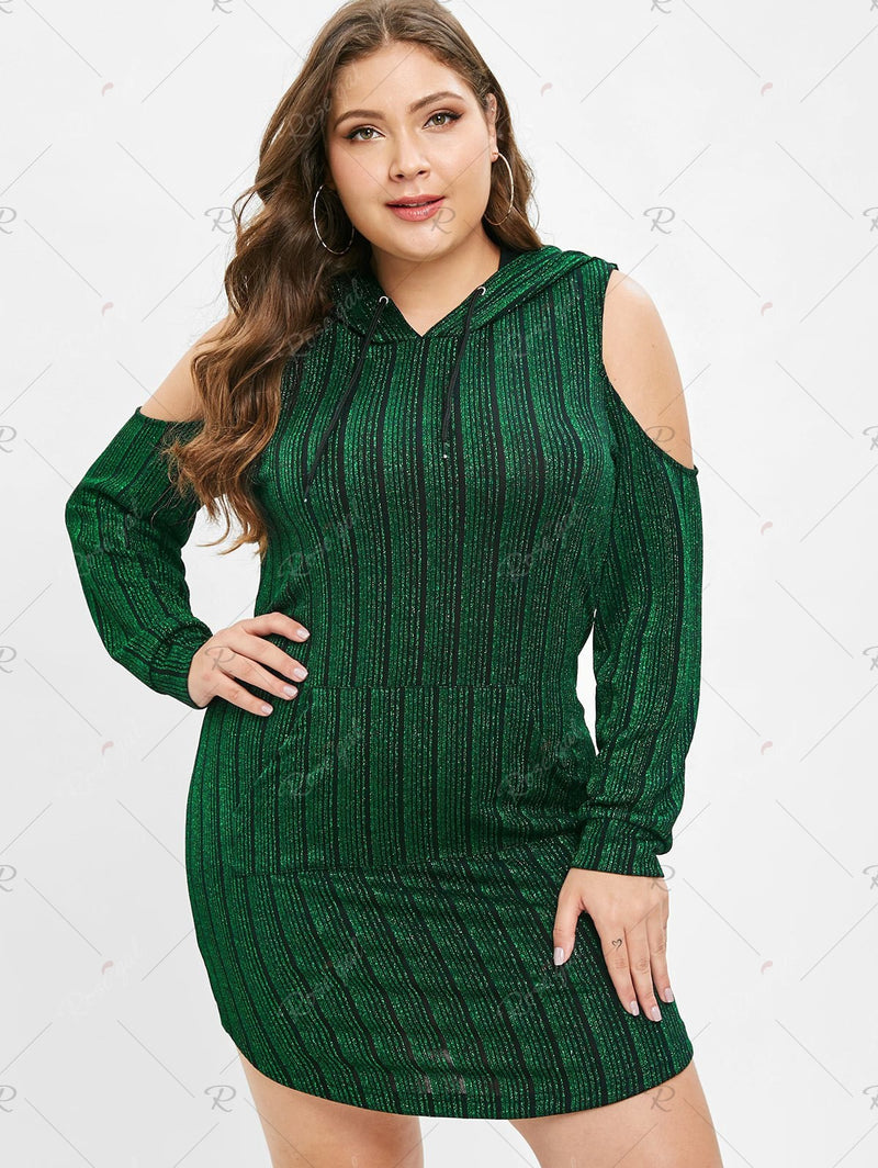 Plus Size Long Sleeves Shiny Hoodie Dress
