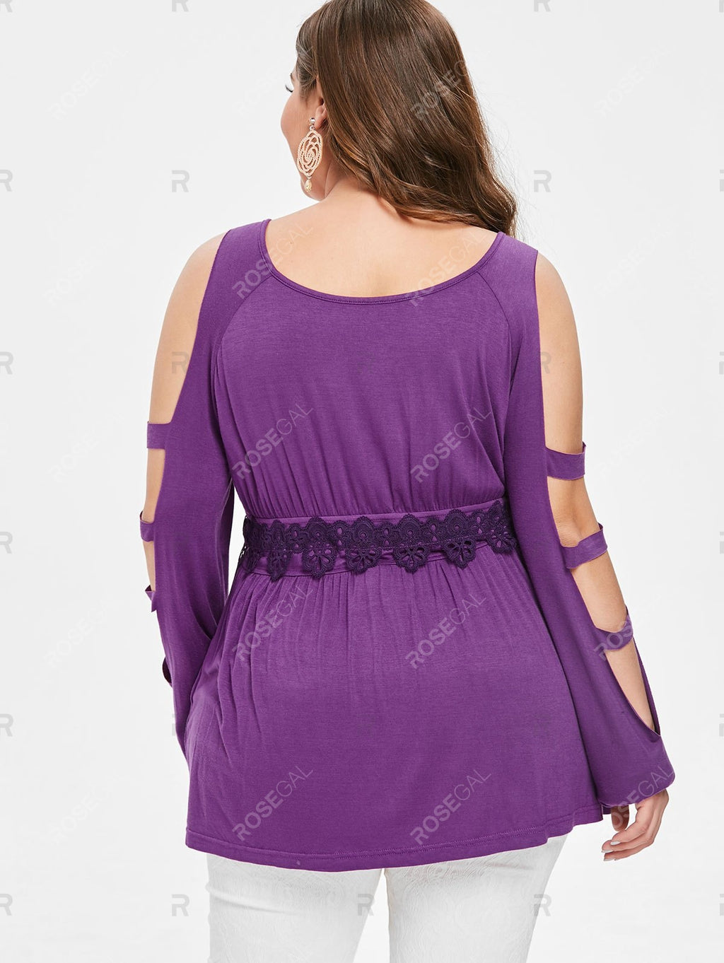 Plus Size Lattice Lace Panel Peplum Top
