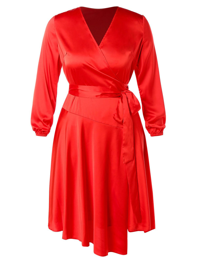 Plus Size Satin Midi Dress