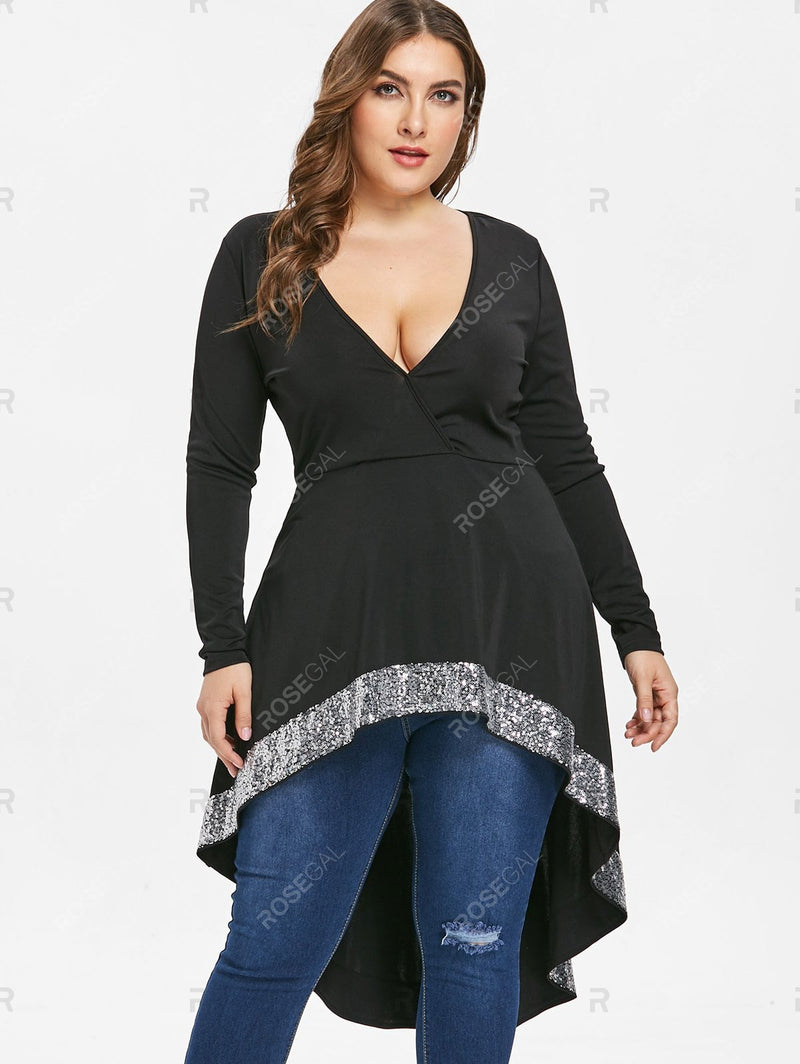 Plus Size Sequin High Low Surplice Top