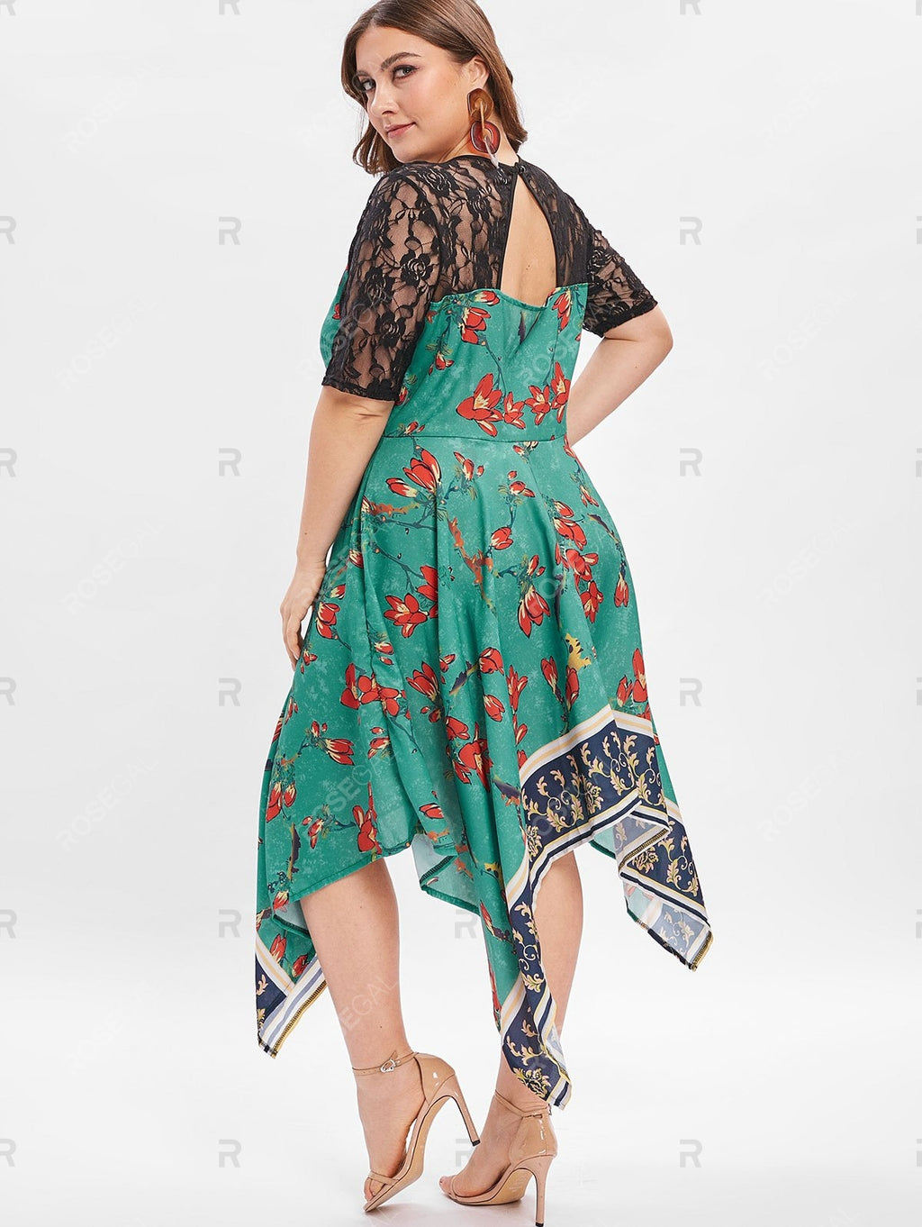 Floral Print Back Cut Out Plus Size Asymmetrical Dress
